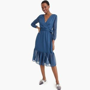 J. Crew Point Sur faux-wrap dress chiffon blue